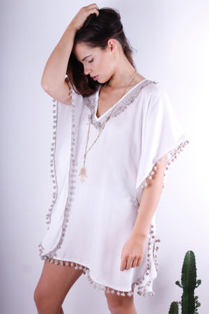 Shamsi Tassel & Pom Pom Nude & White Tunic