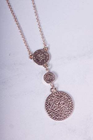 Short Monica Three Coin Necklace Rose Gold