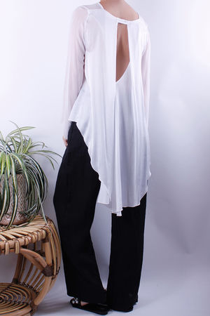 Silk & Crepe Back Detail Top White