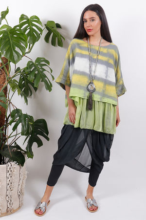 Silk Road Blurred Lines Top Lime