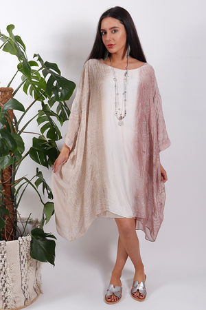 Silk Road Ombre Dress Dusky Pink
