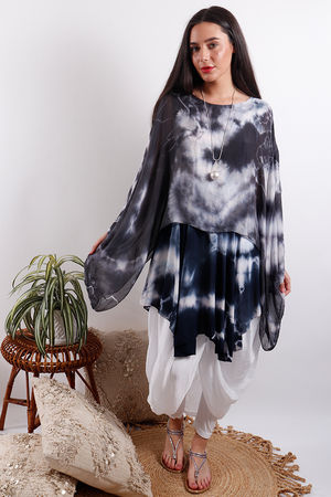 Silk Road Tie Dye Top Midnight
