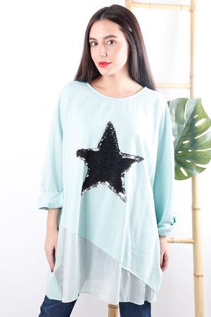 Silky Sequin Star Sweat Aqua
