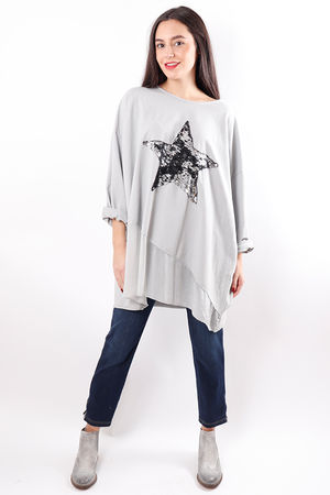 Silky Sequin Star Sweat Dove