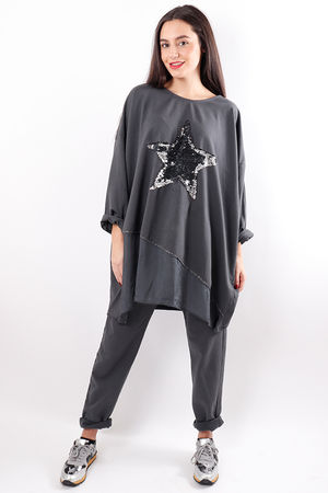 Silky Sequin Star Sweat Graphite