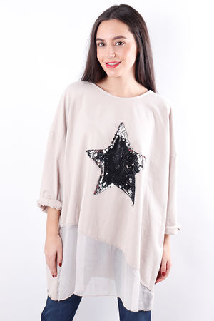 Silky Sequin Star Sweat Nude
