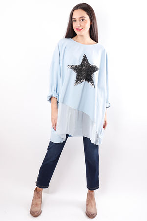Silky Sequin Star Sweat Periwinkle