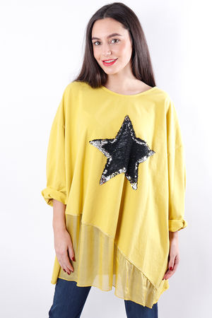 Silky Sequin Star Sweat Sulphur