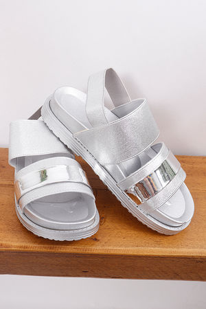 Elasticated Sandals Silver