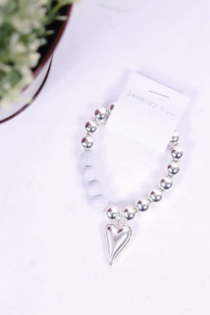 Silver Large Beaded Heart Pendant Bracelet