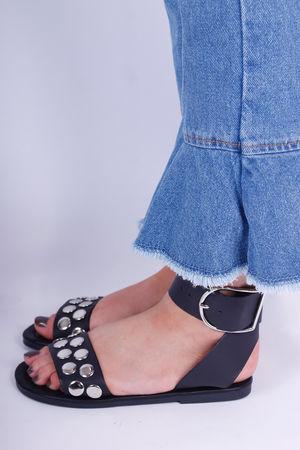 Silver Stud Flat Sandals Black