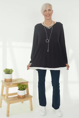 Simple Knit Smock Navy