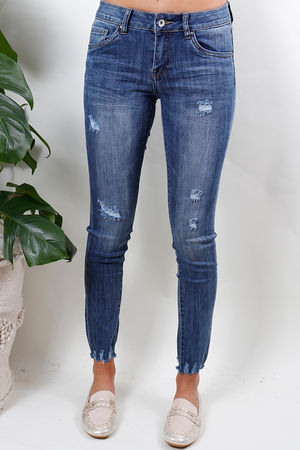 Skinny Distressed Raw Edge Jean