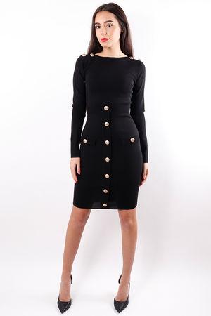 Slit Neck Military Dress Black