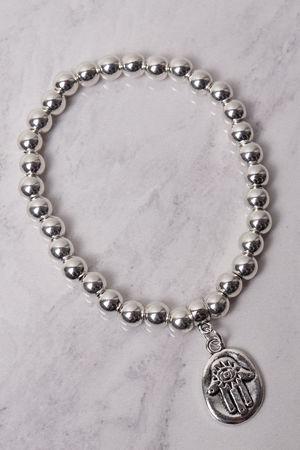 Small Beaded Hamsa Bracelet Silver