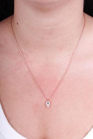 Small Diamante Hamsa Hand Necklace Rose Gold