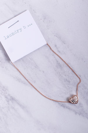 Small Diamanté Heart Bracelet Rose