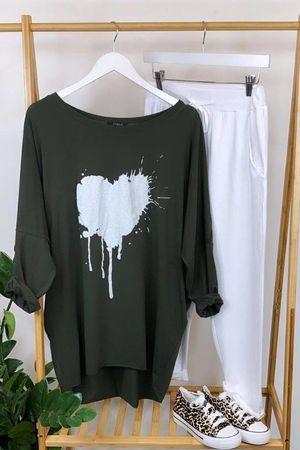 Smashed Heart Cocoon Longline Tee Khaki