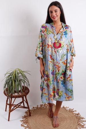 SMF Oversized Bird Shirt Dress