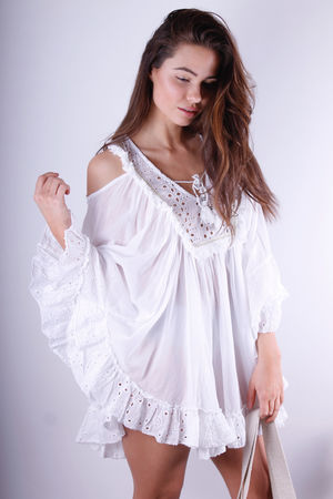 Smile Broderie Anglaise Cold Shoulder Cotton Tunic