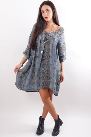 Snake Smock Dress Denim
