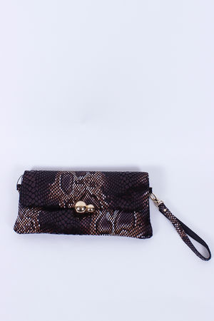Malissa J Leather Double Ball Clutch Dark Skin