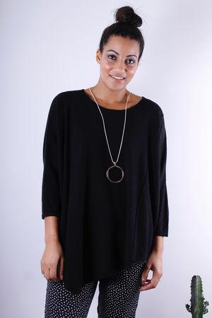 Soft B Asymmetric Knit Black