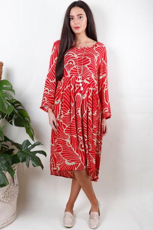 Soft B Print Dress Ruby Red
