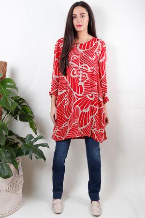Soft B Print Tunic Ruby Red