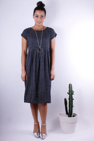Soft B Speckle Tulip Dress Black