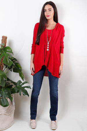 Soft B Tie Cardigan Red Ruby