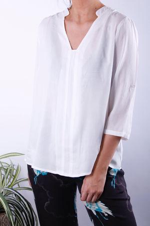 Soyaconcept Alice 3/4 Sleeve V Top Off White