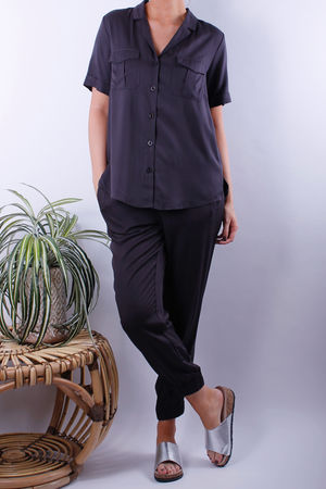Soyaconcept Maira Dark Earth Satin Pocket Shirt
