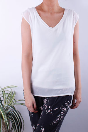 Soyaconcept Off White Layered Sleeveless Top