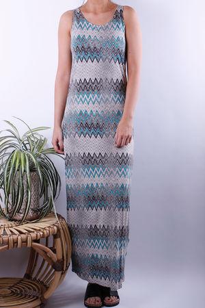 Soyaconcept Tonita Three Missi Zig Zag Aqua Maxi Dress