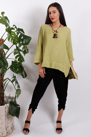 Split Side Waffle Top Summer Lime