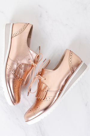 Sporty Brogue Rose Gold