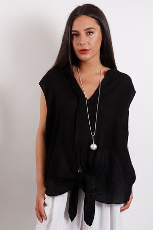 St Kitts Knotted Sleeveless Top Black