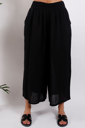 St Kitts Linen Culottes Black