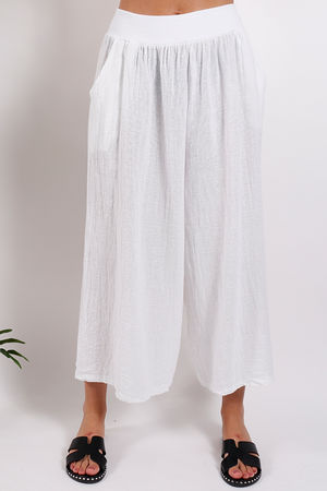 St Kitts Linen Culottes White
