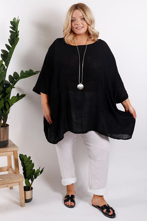 St Kitts Oversized Top Black