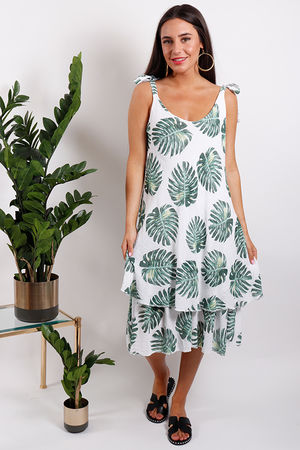 St Kitts Tiered Palm Dress White