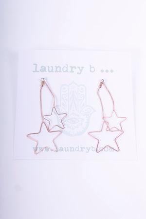 Star Drop Earrings Rose Gold