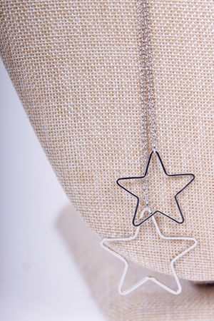 Star Drop Long Necklace Silver