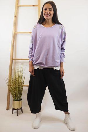 Star Sleeve Sweat Lilac