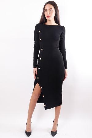 Stretch Button Midi Dress Black