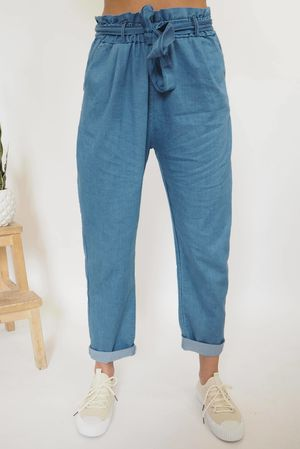 Stretch Denim Paper Bag Pants