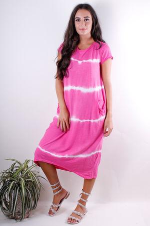 Stripe Dye Long Pocket Tee Dress Lipstick