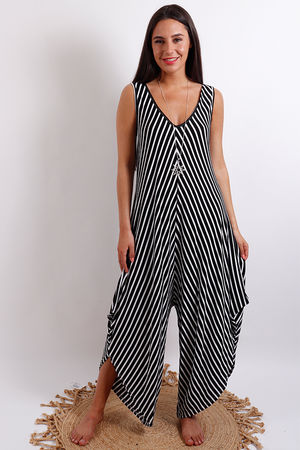 Stripe Jumpsuit Black