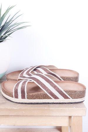 Stripe Hessian Slider Tan